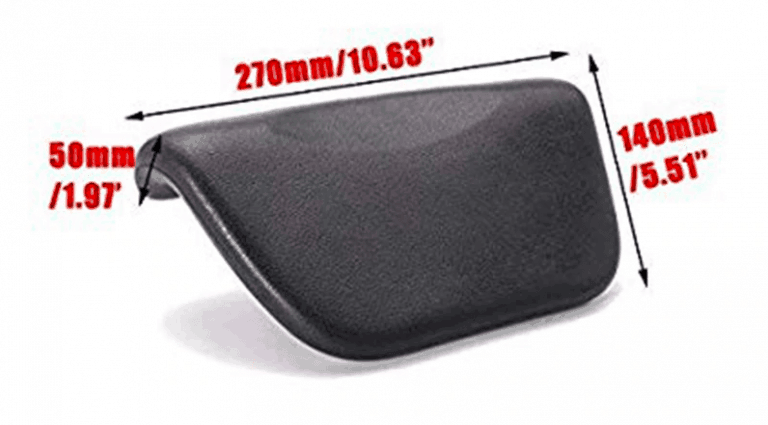 Bath headrest with Suction Dimensions View