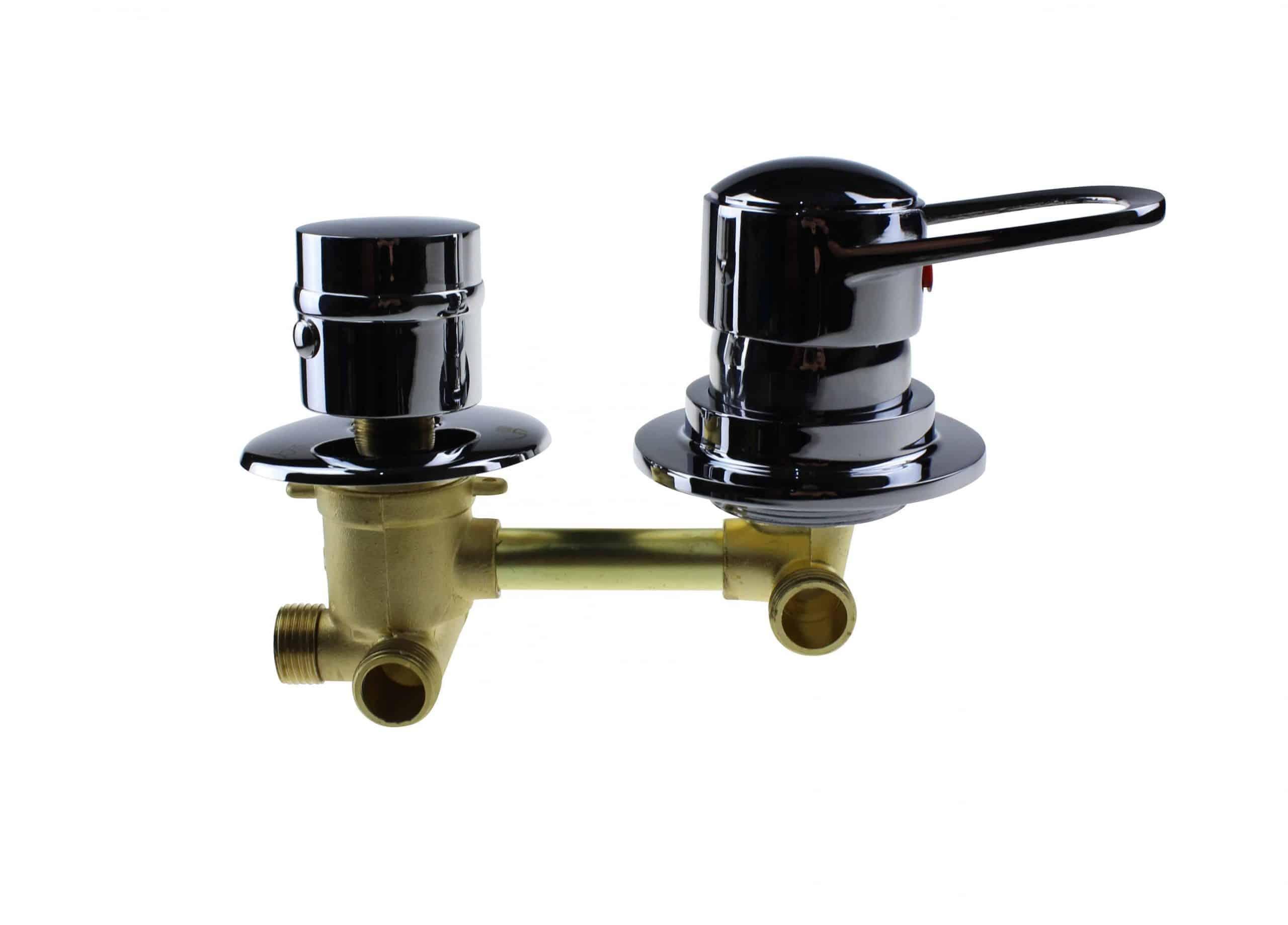 2 Dial Shower Mixer Valve : Threaded 100mm Centres