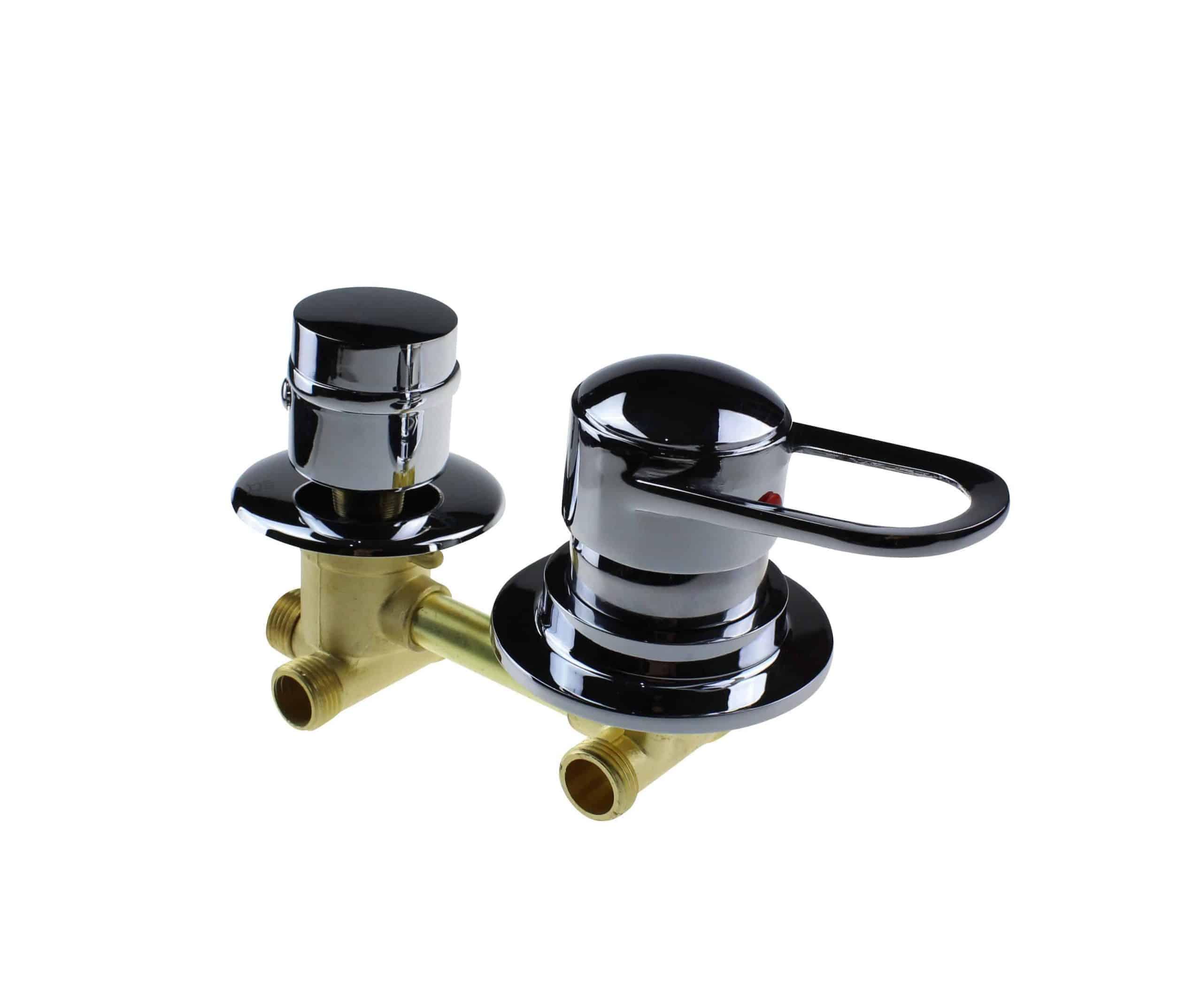 2 Dial Shower Mixer Valve : Threaded 140mm Centres