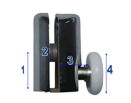 Shower Door Wheels & Rollers Model 002