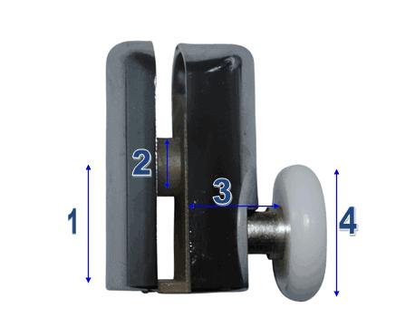 Shower Door Wheels & Rollers Model 001