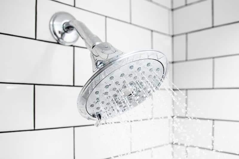 Shower head spraying water. Shower head