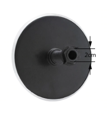 15cm Monsoon Shower Rear view with thread and nut